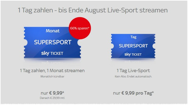 Sky Sport-Ticket-Aktion
