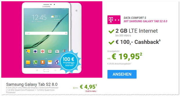 Telekom Data Comfort S + Samsung Galaxy Tablet