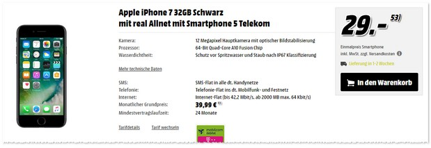 Telekom Real Allnet + iPhone 7 (32GB) als Media Markt Angebot