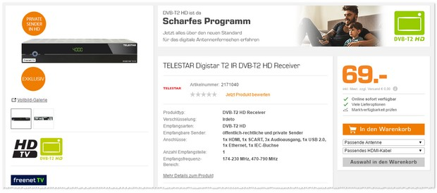 Telestar Digistar T2 IR DVB-T2 HD Receiver