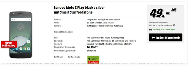 Vodafone Smart Surf + Lenovo Moto Z Play
