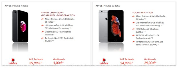 Vodafone Young M mit iPhone 6S (32GB)