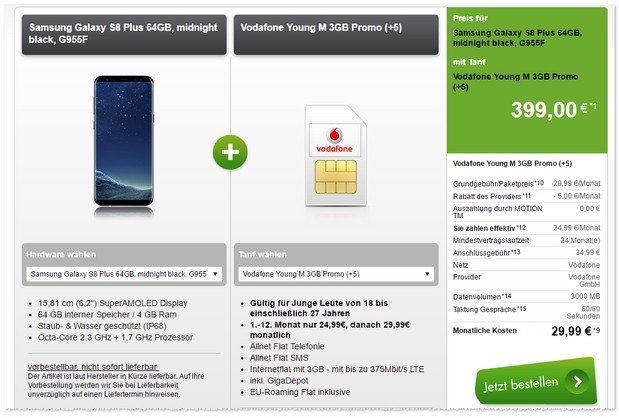 Vodafone Young M + Samsung Galaxy S8 Plus im Angebot