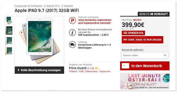 ipad 2017 32 gb wifi f r 265 mediamarkt deal gold. Black Bedroom Furniture Sets. Home Design Ideas