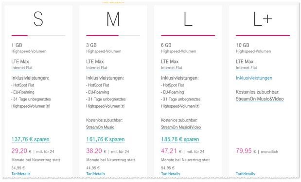 Magenta Mobil Tarife mit Stream On Option