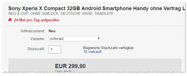 Sony Xperia X compact ohne Vertrag als eBay Angebot
