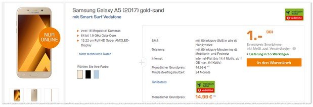 Vodafone Smart Surf + Samsung Galaxy A5 (2017) für 1 Euro