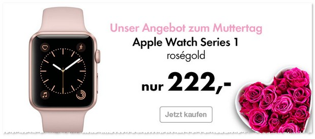 Apple Watch der Series 1 in Rosegold (38mm, Sportarmband) als Euronics Muttertags-Angebot.