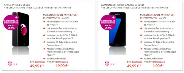 Magenta Mobil M Friends + iPhone 7 (256GB) + Tablet gratis
