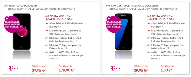 Magenta Mobil S + iPhone 7 Plus mit Tablet gratis