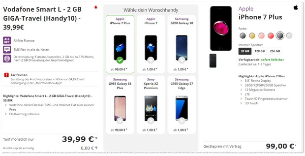 Vodafone Smart L und iPhone 7 Plus (32GB) unter 100 Euro