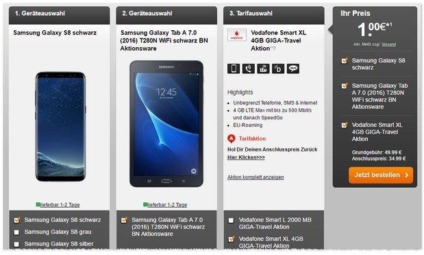Vodafone Smart XL + Samsung Galaxy S8 mit Gratis-Tablet