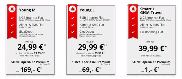 Vodafone Young M mit Sony Xperia XZ Premium aktionsweise ab 24,99 € mtl. + 169 € Zuzahlung