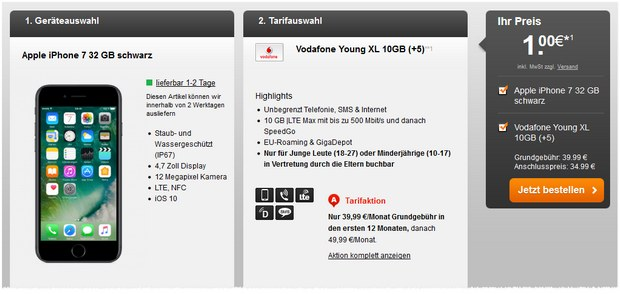 Vodafone Young XL mit iPhone 7 ab 1 € Zuzahlung, Tarif ab 39,99 €