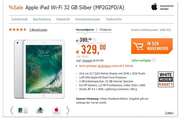 iPad 9.7 (2017) in Silber als Cyberport White Weekend Deal