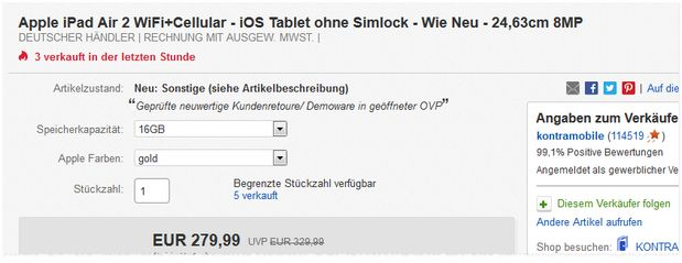 iPad Air 2 WiFi+4G für 280 €