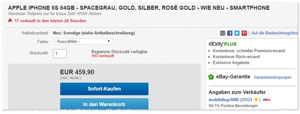 iPhone 6S 64GB wie neu als B-Ware-Deal