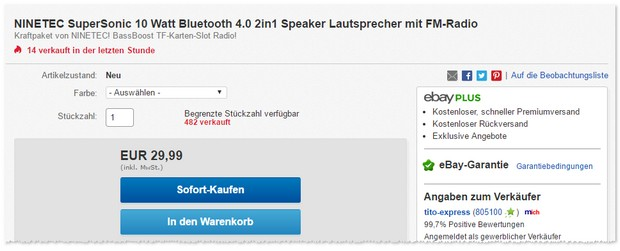 Ninetec Bluetooth Lautsprecher SuperSonic
