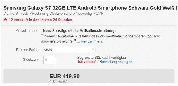 Samsung Galaxy S7 in Gold oder Pink