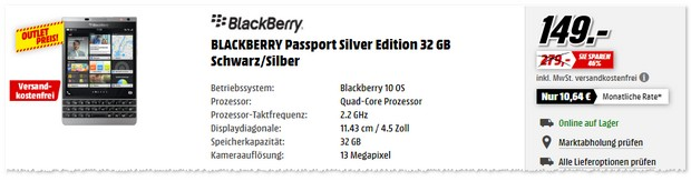BlackBerry Passport als Wochenend-Outlet-Kracher bei Media Markt