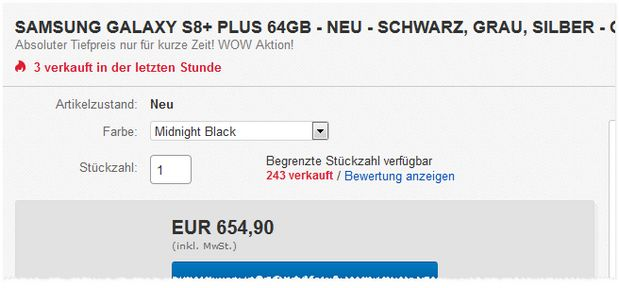 Galaxy S8 Plus Deal für Neuware
