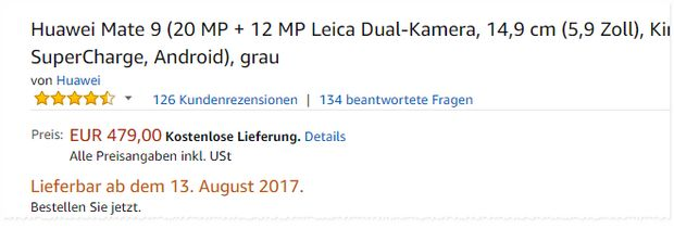 Huawei Mate 9 Deal für 479 € bei Amazon