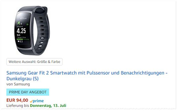Samsung Gear Fit 2 Angebot zum Prime Day