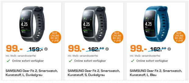 Saturn Super Sunday Deals am 30.7.2017 mit Gear Fit 2 für 99 €