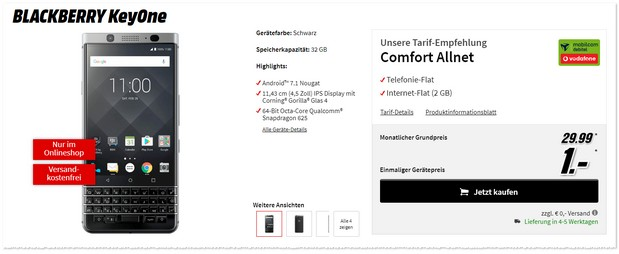 Vodafone Comfort Allnet mit BlackBerry KeyOne