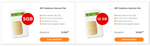 Vodafone Internet Flat 12000 (md) - günstiger 12 GB LTE Datentarif
