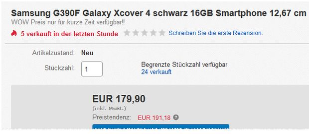 Galaxy Xcover 4 unter 180 €