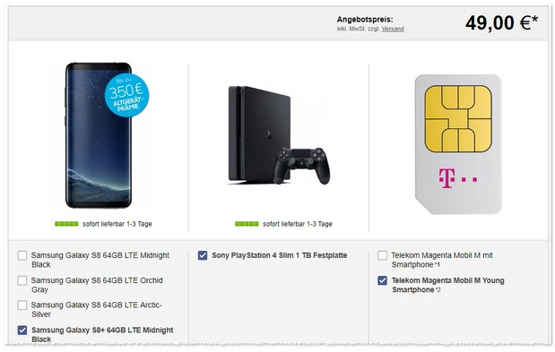 Magenta Mobil M Young + Samsung Galaxy S8 Plus + PS4 Slim