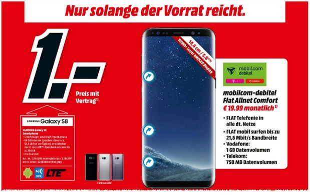 schnapp des tages galaxy s8 f r euro pc welt. Black Bedroom Furniture Sets. Home Design Ideas