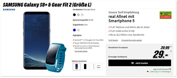 Vodafone Real Allnet + Samsung Galaxy S8 Plus + Gear Fit 2 im Angebot