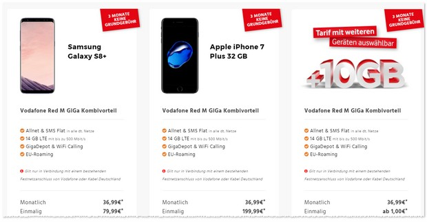 Vodafone Red M GigaKombi Angebot mit 14GB LTE + iPhone 7 Plus