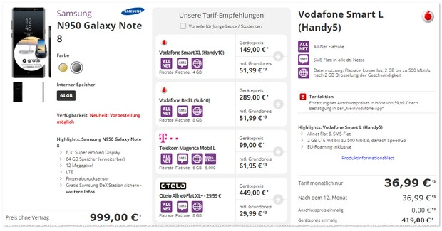 Vodafone Smart L als Samsung Galaxy Note 8 Vertrag