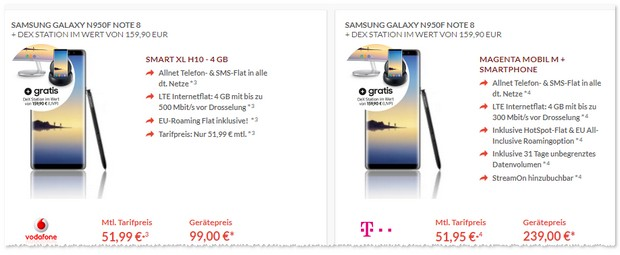 Vodafone Smart XL mit Samsung Galaxy Note 8
