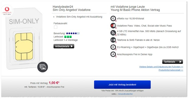 Vodafone Young M (SIM only) mit 4 GB LTE