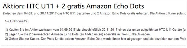 HTC U11 mit 2 gratis Amazon Echo Dots