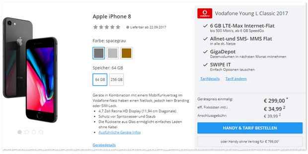 Vodafone Young L Iphone 8 11 Gb Bestpreis 99