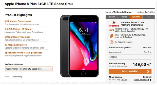 iPhone 8 Plus mit Vodafone Smart XL Tarif