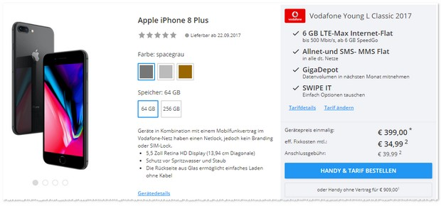 Vodafone Young L und iPhone 8 Plus