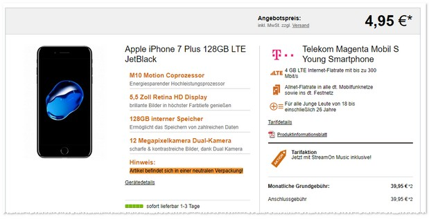 Telekom Magenta Mobil S Young + iPhone 7 Plus (128GB)