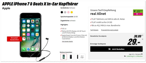Telekom Real Allnet + iPhone 7 (32GB) + Beats X