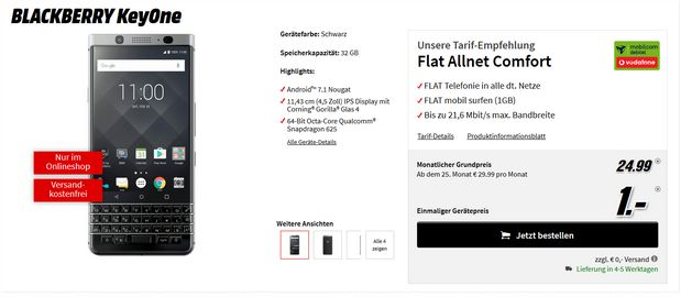Vodafone Flat Allnet Comfort + BlackBerry Key One