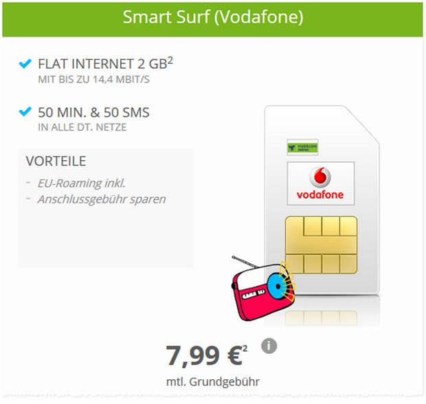 Vodafone Smart Surf (md) als SIM-only-Aktion für 7,99 €