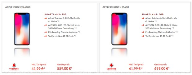 iPhone X und der Vodafone Smart L Plus