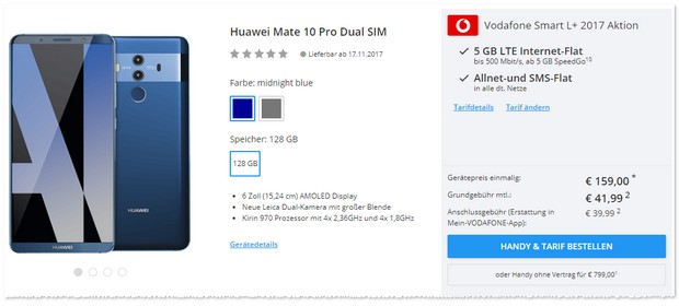 Huawei Mate 10 Pro mit Vodafone Smart L Plus.