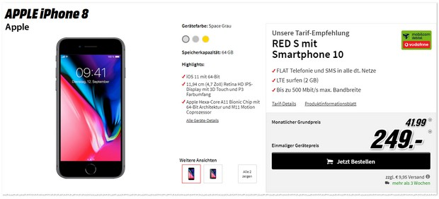 iPhone 8 mit Vodafone Red S von mobilcom-debitel