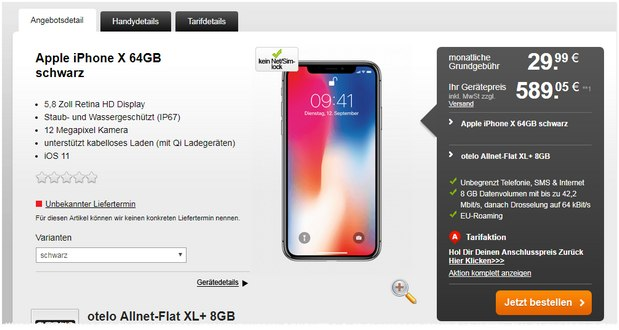 otelo allnet flat max iphone x 6 gb deal unter 30 mtl. Black Bedroom Furniture Sets. Home Design Ideas